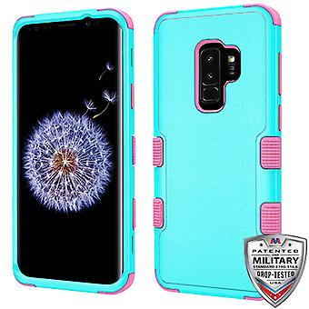 MYBAT Natural Teal Green/Electric Pink TUFF Hybrid Phone Protector Cover for Galaxy S9 Plus