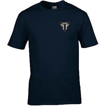 Triumph GB-motorsykkel syklist brodert logo-Cotton Premium T-skjorte