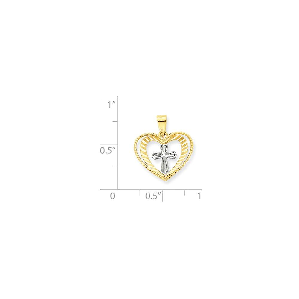 10k Yellow Gold Sparkle Cut Textured back and Rhodium Love Heart With Religious Faith Cross Charm Pendant Necklace Jewel