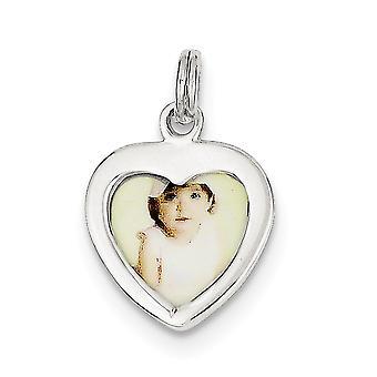 925 sterling sølv poleret hjerte foto Charm-1,3 gram