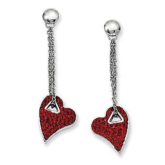 rustfritt stål polert innlegg øredobber rød krystall kjærlighet hjerte post lang dråpe dingle øredobber smykker gaver til kvinner