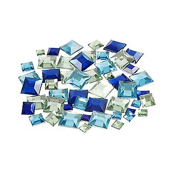 360 Assorted Blue & Green Square Jewel Rhinestones for Crafts