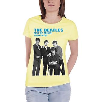 The Beatles You Cant Buy Me Love Official Womens New Yellow skinny fit T Shirt