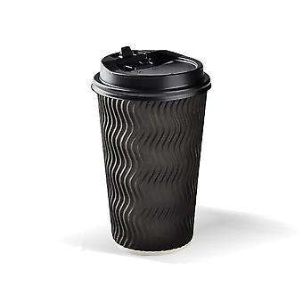 Tazas de café desechables Triple Pared 16Oz 50pcs Negro