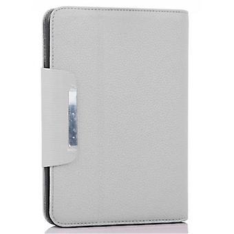 Cadorabo tapauksessa Kindl Fire HD (7.0 & tuumaa) - Kotelo TITAN WHITE - Suojakotelo jalustalla ja korttitarjotin - Kirja Tyyli Tapauksessa Puskurin tapauksessa Cover