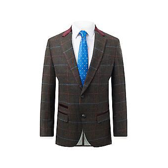 Dobell Mens Brown Tweed Jacket Regular Fit Windowpane Check Velvet Trims