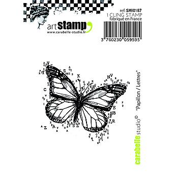 "Carabelle Studio ""Schmetterling-Briefe"" zu Klammern, Stempel, Weiß/Transparent, Mini"