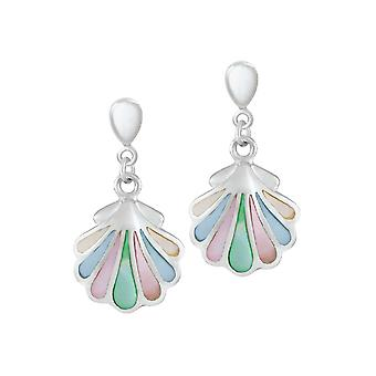 Eternal Collection Iridescent Mother Of Pearl Shell Sterling Silver Drop Clip On Earrings