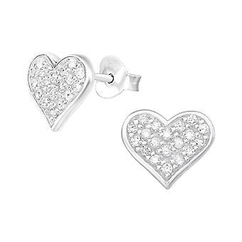 Heart - 925 Sterling Silver Cubic Zirconia Ear Studs - W20327X