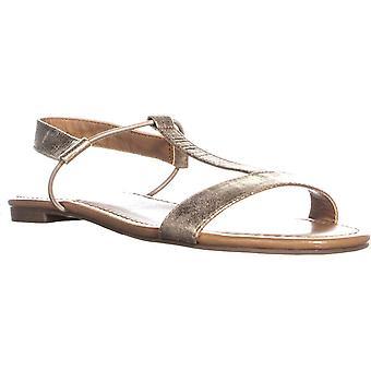 Style & Co. Womens Kristee Faux läder T-rem sandaler guld 6 medium (B, M)
