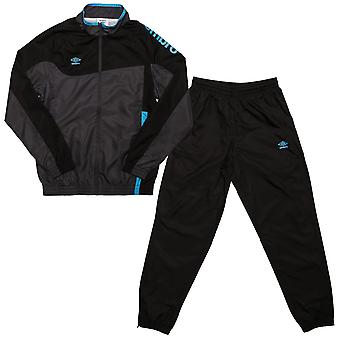 Junior Boys Umbro Division Lined Tracksuit In Black- Jacket: - Zip Fastening-