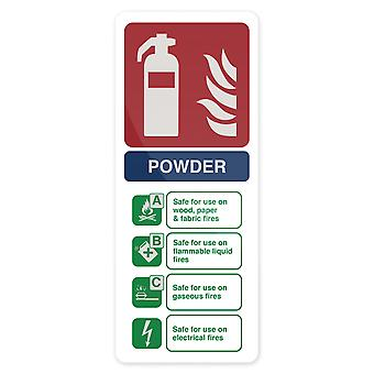 Droge poeder brandblusser Sign-202x82mm zelfklevend