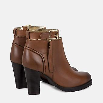 Ladies tan heel ankle strap leather boot