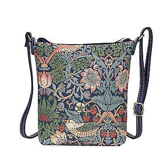 William morris - strawberry thief blue shoulder sling bag by signare tapestry / sling-stbl