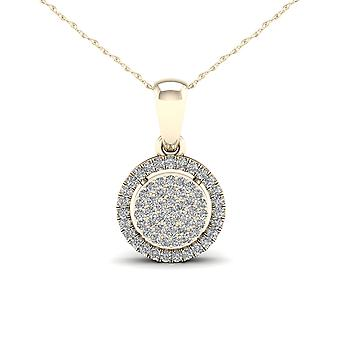 Igi certified 10k yellow gold 0.15ct tdw diamondcluster halo pendant necklace