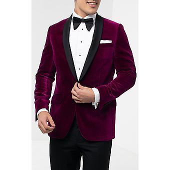 Holland & Sherry mens Plum Velvet Tuxedo jas regular fit 100% katoen