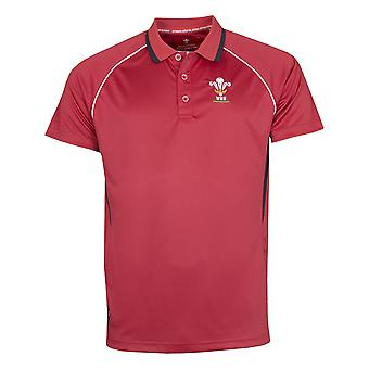 Wales WRU Rugby Mens Panel Poly Polo Shirt