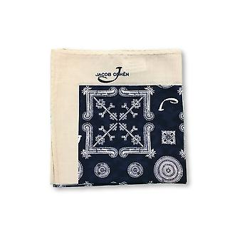 Jacob Cohen Pocket Square in blue and off-white abstract design