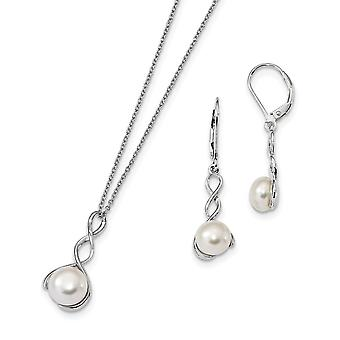 925 Sterling Silver Rh 8 9mm White Freshwater Cultured Pearl Earrings Necklace Set Jewelry Gifts for Women