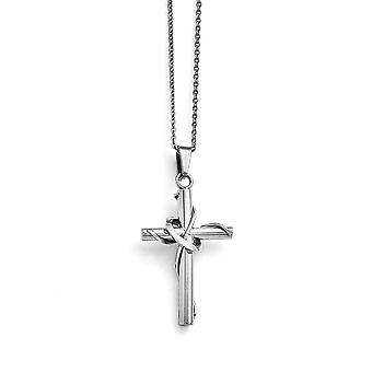 Stainless Steel Polished Religious Faith Cross With 1.75 Inch Ext. Necklace 16.5 Inch Jewelry Gifts for Women