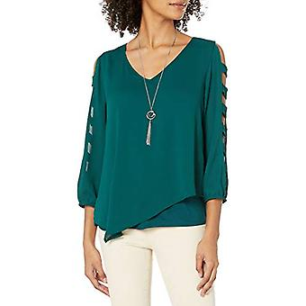 A. Byer Junior's Assimétrico Sheer Top W/Knit Tee and Necklace, Pine, Small