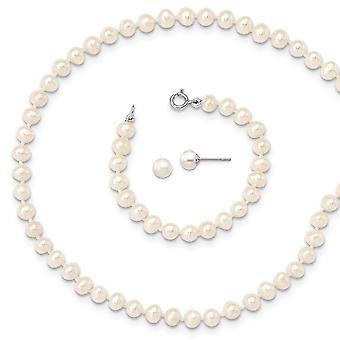 925 Sterling Silver Madi K Rhod plat 4 5mm Freshwater Cultured Pearl Neck Bracelet 5mm Ear Jewelry Gifts for Women