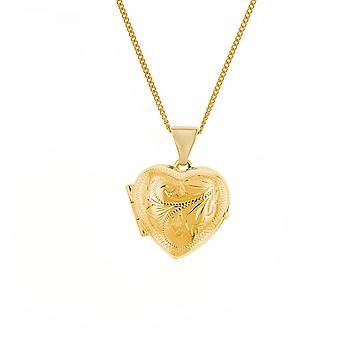 O Olivia Collection 9 Carat Yellow Gold 15mm Heart Sgraved Locket Pendant em 9ct Yellow Gold 18