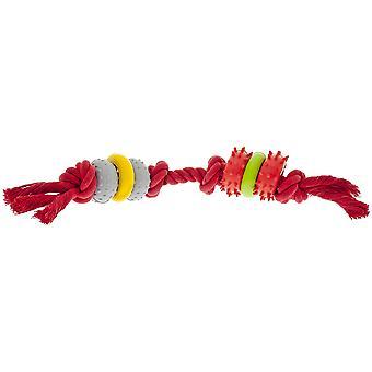 Ferribiella גומי שיניים כפול משחק W/חבל (כלבים, צעצועים & ספורט, ללעוס צעצועים)