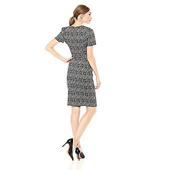 Calvin Klein Women's Short Sleeved Princess Seamed Sheath Dress, Black/Cream,...