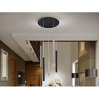 Schuller Varas - Lampe ronde de 5 lampes LED. Fait de métal, d'or brillant et de finition noire mat. Diffuseur acrylique opale. 25W LED, 2250 lm, 3.000 K. DIMMABLE - 373142