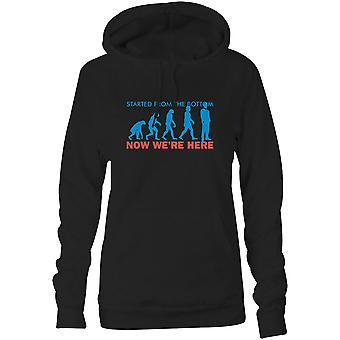 Womens Sweatshirts Hooded Hoodie- Started From The Bottom, Now We're Here