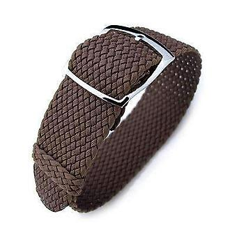 Strapcode fabric watch strap 20mm & 22mm miltat perlon watch strap, brown, polished ladder lock slider buckle