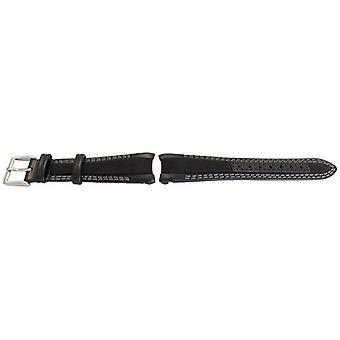 Watch strap made by w&cp to fit rolex gmt & oyster smooth black calf leather & fabric hybrid watch strap 20mm grey stitching