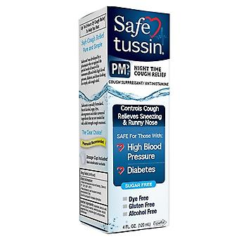 Safetussin pm cough relief syrup, 4 oz