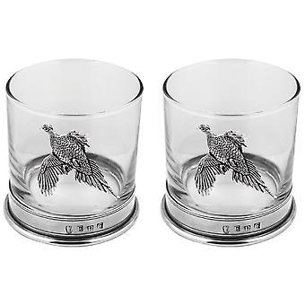 Bicchiere in vetro Whisky peltro fagiano - Set di 2
