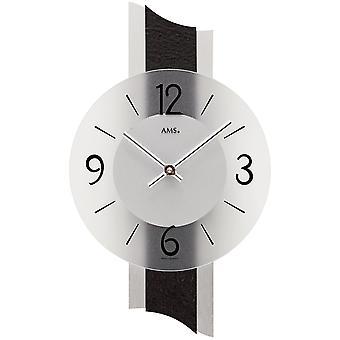 AMS 9395 wall clock quartz analog modern with slate and glass slate clock