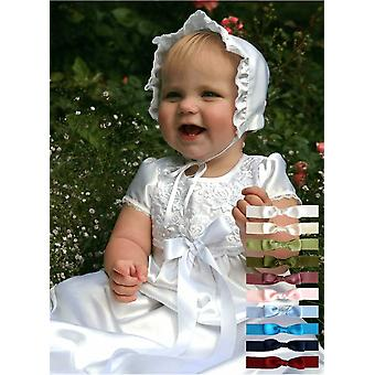 White Christening Gown In Satin With Lace With Flowers