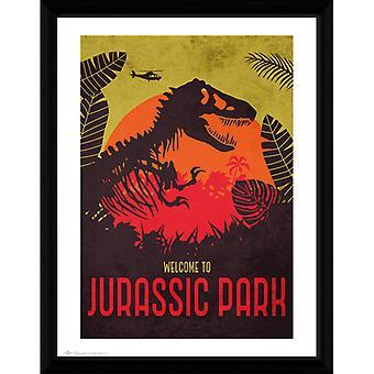 Jurassic Park Silhouette gerahmt Platte 30 * 40cm