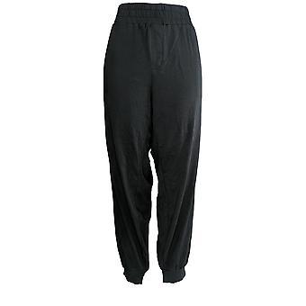 Anybody Women's Plus Cozy Knit Cargo Jogger Pants w/ Pkts Black A310051