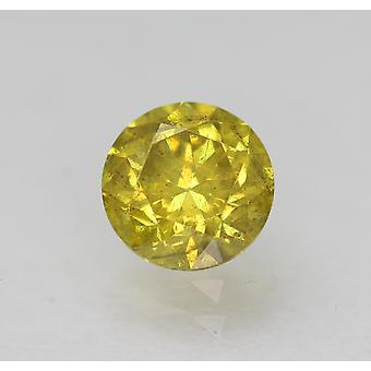 Cert 0.45 Carat Vivid Yellow SI1 Round Brilliant Enhanced Natural Diamond 4.73mm