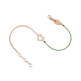 Bracelet Heart 18K Gold and Diamonds, on Half Thread Half Chain - Rose Gold, NeonGreen
