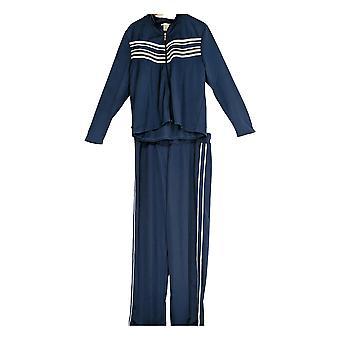 Masseys Womens Plus Long Slvs Top & Pants Printed/2 Piece Track Set Blue