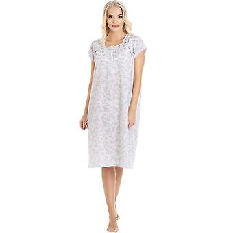 Camille Grey Floral Weiß Kurzarm Nachthemd