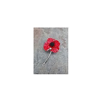 Union Jack Wear Silver Plated Detailed Poppy Brooch