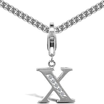 Jewelco London Sterling sølv cubic zirconia identitet anheng-Initial X-18inch Chain