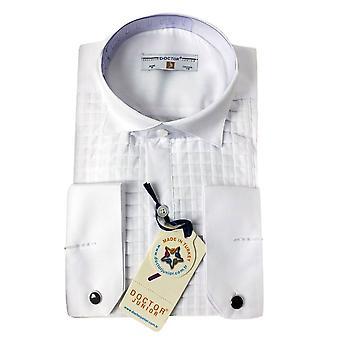 Premium ragazzi ala collare quadrato bianco gemelli camicia plissettata