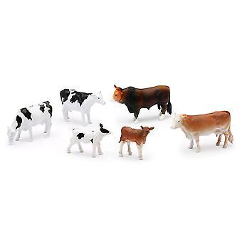 Land livet gård djur Set, kor, kalvar och Bull (05593A)
