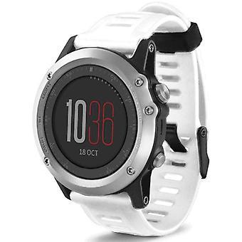 Horlogeband gemaakt door strapsco voor garmin fenix 3 witte siliconen horlogeband