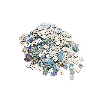 600 Silver 6mm Square Holographic Sequins for Crafts