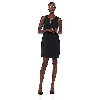Brand - Lark & Ro Women's Sleeveless Split Neck Shift Dress, Black, 16